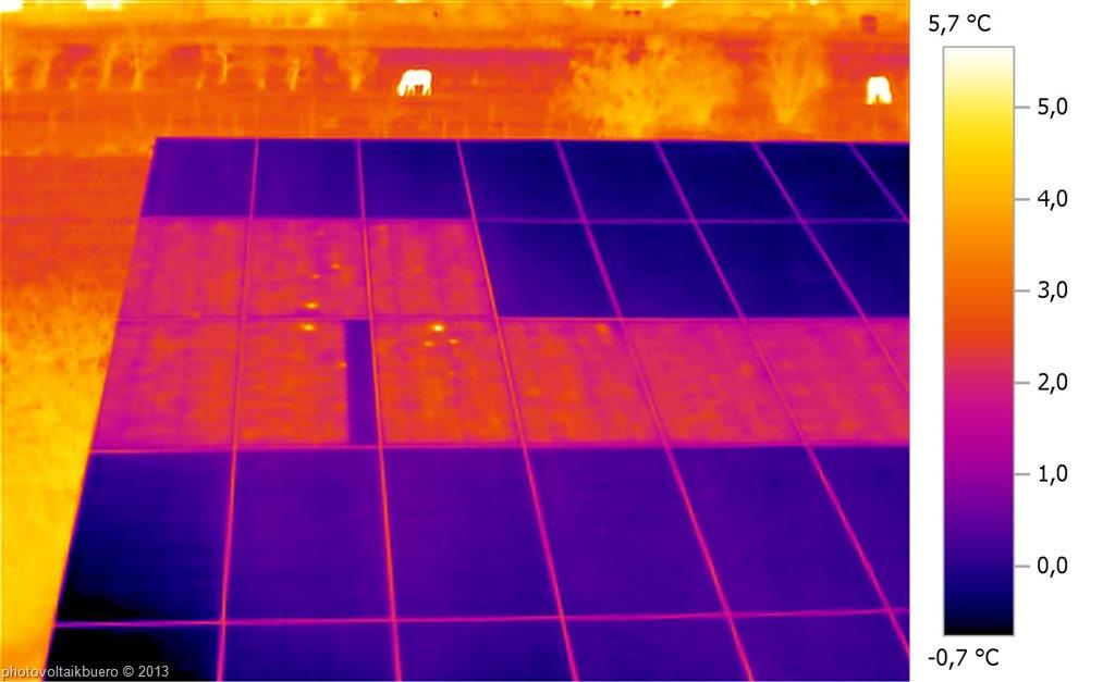 termografia a corrente inversa del modulo fotovoltaico con diodo di bypass in corto
